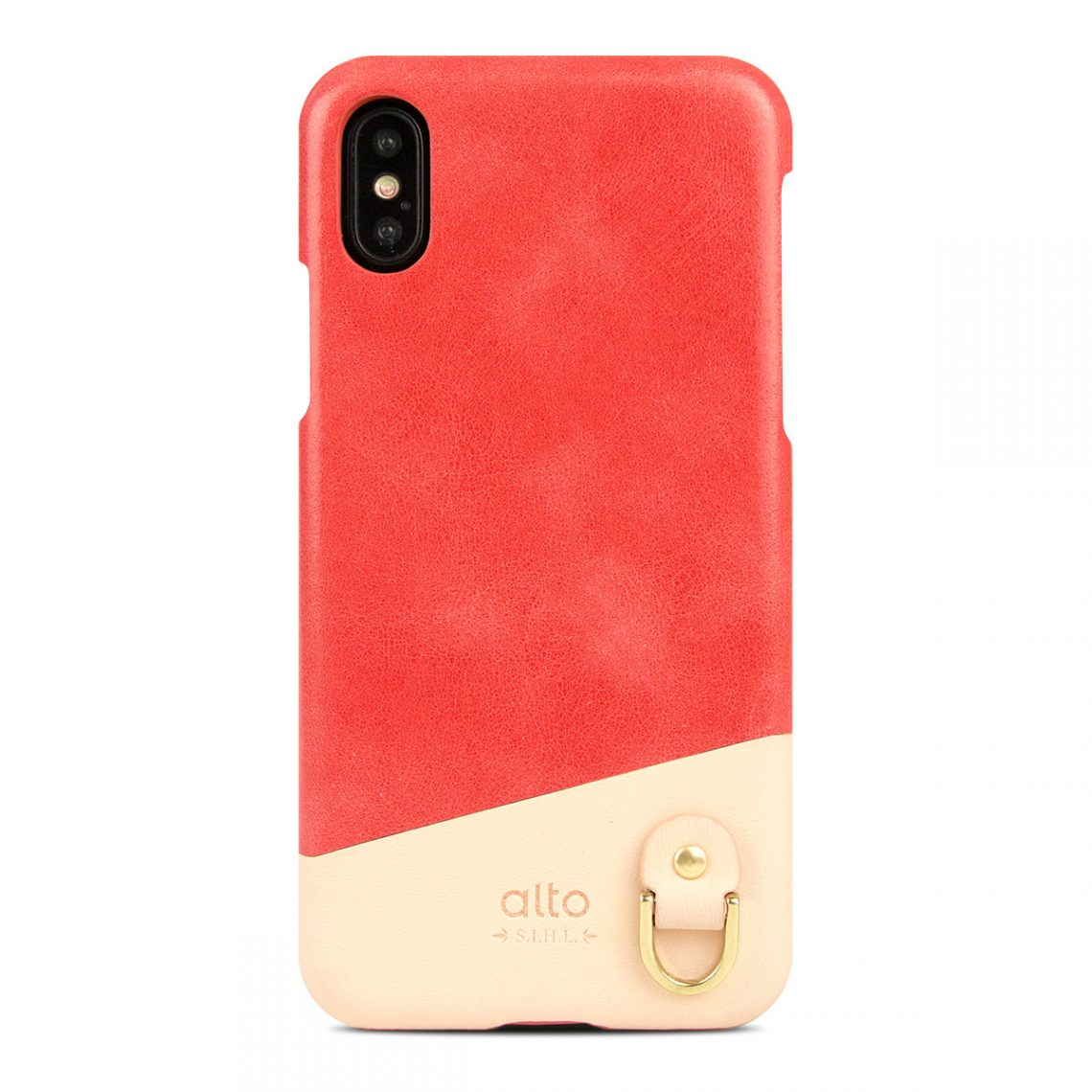 IPhone X Anello Leather Case - Coral